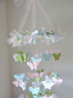Chandelier Multi colored Butterfly Mobile. $55.00, via Etsy.