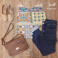 Você linda da cabeça aos pés @loja_amei  #lojaamei #etiquetaamei #bolsa #alpargata #jeans #hotpants