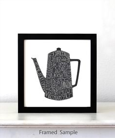 Coffee DRINKS Pot, Kitchen Art Poster, typographic print, art print, Kitchen wall decor, kitchen decor poster, mothers day gift for mom