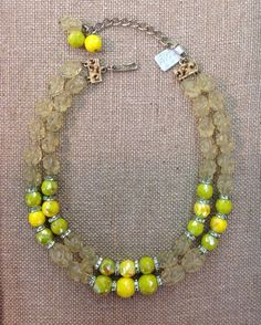 Vintage Hobe' Lucite & Ceramic Double Strand Yellow & Lime Green Bead Necklace #Hobe #StrandString