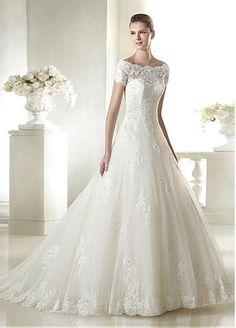 Elegant Tulle Bateau Neckline Natural Waistline A-line Wedding Dress With Beaded Lace Appliques