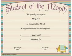 Student of the Month Certificate Printable Certificate Student Of The Month, Honor Student, Printable Certificates, Congratulations, Printables, Math Equations, School, Gem, Books