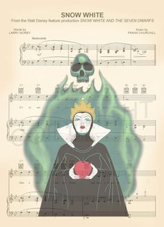 Neige blanche méchante Reine partition de musique par AmourPrints