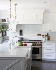 Just fell into a rabbit hole on Pinterest and found this photo floating around of our #POBarringtonreno - I don't think we ever posted it here on Instagram! - fabulous white kitchen with a gray island and white subway tile.    #Regram via @parkandoakdesign