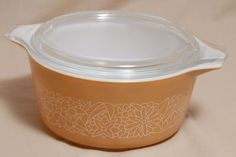 Vintage 1.5 Qt Pyrex Cinderella Casserole Dish Lid Woodland Light Brown  #474 B  #Pyrex