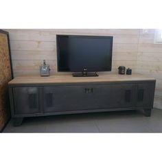 Meuble tv sur-mesure en acier et bois style industriel fabriqué à ...