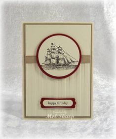 Stamps: The Open Sea, Teeny Tiny Sentiments   Paper: Very Vanilla, Crumb Cake, Cherry Cobbler   Ink: Early Espresso   Accessories: Nestabilities, Stripes Embossing Folder, Crumb Cake Taffeta Ribbon, Word Window Punch, Designer Label Punch