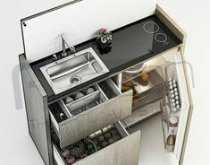 Minimalistic Multipurpose Mini Kitchen on Behance Micro Kitchen, Compact Kitchen, Van Interior, Home Interior Design, Tiny Spaces, Small Apartments, Cuisines Diy, Kombi Home, Camper Kitchen