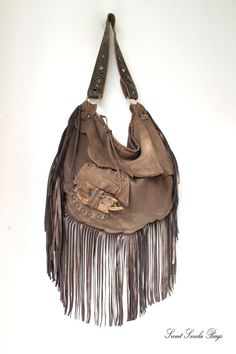 Large tribal leather raw edges rusted brown hobo larp elvish bag bohemian fringed bag fringe post apocalyptic tattered rusted post apo bag