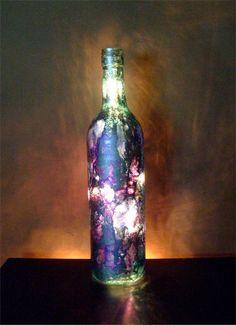 Upcycled wine bottle light