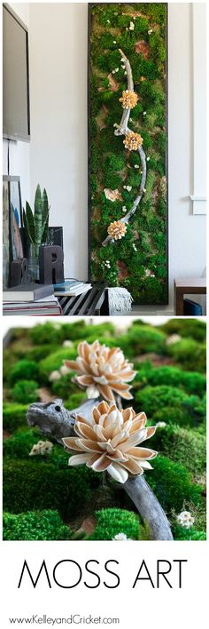 Unique Moss Wall Art and Decor to Enliven Your Home Moss Wall Art, Moss Art, Diy Wall Art, Diy Wall Decor, Moss Garden, Garden Art, Natural, Magnolia Flower, How To Preserve Flowers