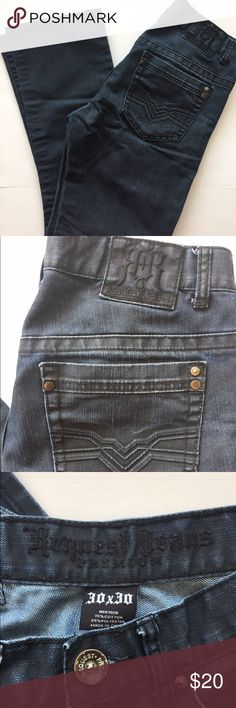 MENS REQUEST JEANS PREMIUM MENS REQUEST JEANS PREMIUM DENIM JEANS, SZ 30x30, DARK DENIM, RN 97628, 75% COTTON, 25% POLYESTER Request Jeans Premium Jeans Straight