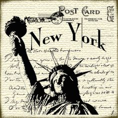 Postcard New York Papel Vintage, Decoupage Vintage, Vintage Paper, Vintage Pictures, Vintage Images, Postcard Postage, New York Tattoo, Country Paintings, New Poster
