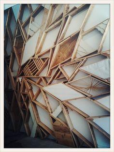 on bush fab wood installation Architecture Details, Interior Architecture, Presentation Board Design, Timber Cladding, Geometric Wall Art, Retail Design, Visual Merchandising, Installation Art, Sculpture Art