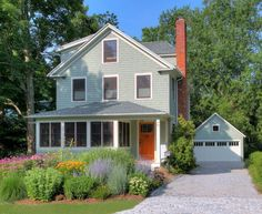 , Adorable Farmhouse With Gray Color And Red Bricks Chimney Also Traditional Exterior Design With Gorgeous Front Garden Designs With Green Plants And Flower Plants: Impressing the Passerby with Stunning Front Garden Design Front Yard Planters, Small Front Yard Landscaping, Front Yard Design, Farmhouse Landscaping, Modern Landscaping, Backyard Landscaping, Landscaping Ideas, Landscaping Software, Backyard Ideas