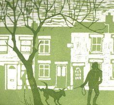 Dog walker by green cottages original linocut