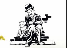 Vector Preto E Branco Charlie Chaplin Charlot Dog life Sticker dxf File Charlie Chaplin, Stencil Art, Stencils, Art Sketches, Art Drawings, Pop Art, Black Art, Black And White, Wood Burning Art