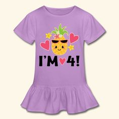 inktastic 4th Birthday Pineapple Girls Toddler T-Shirt