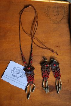 Peruvian style Macrame necklace and earrings 925 silver, natural coconut shell and wood. - pinned by pin4etsy.com