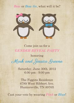 Gender Reveal Party, Gender Reveal Baby Shower with Owls Digital, Printable file. via Etsy.