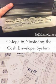 4 Steps to Mastering the Cash Envelope System Budget Envelopes, Cash Envelopes, Financial Peace, Financial Success, Money Envelope System, Money Saving Tips, Money Tips, Money Plan, Budgeting Finances