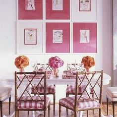 Chinoiserie Chic: Design Your Own Custom Chinese Chippendale Chairs Rosa Coral, Coral Pink, Orange Pink, Mint Green, Magenta, Pink White, Hot Pink, Pink Dining Rooms, Chippendale Chairs