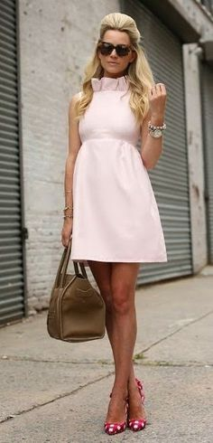 Just a Pretty Style: Beautiful pale pink dress with polka dots shoes