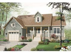 Craftsman House Plan with 1344 Square Feet and 2 Bedrooms from Dream Home Source | House Plan Code DHSW65310