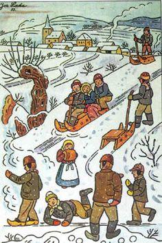Prague, My Love: Happy Birthday, Josef Lada! Winter Illustration, Children's Book Illustration, Vintage Christmas Cards, Winter Scenes, Prague, Pretty Pictures, Illustrators, Folk Art, Happy Birthday