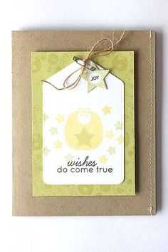 Tiny Tags Revisited - Wishes Do Come True Card by Heather Nichols for Papertrey Ink (April Tiny Tags, Welcome Card, Congratulations Baby, New Baby Cards, Ink Stamps, Handmade Baby, Kids Cards, Scrapbooking Layouts, Homemade Cards