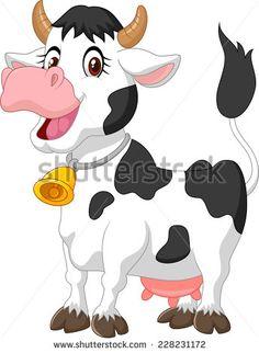 Happy Cartoon Cow Stock Vector Illustration 228231172 : Shutterstock