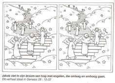 Jakob ziet in zijn droom een trap met engelen die omhoog en omlaag gaan, Jakobs ladder zoek de 10 verschillen