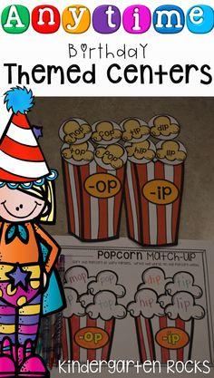 Anytime themed birthday centers for kindergarten.