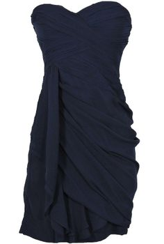 Dreaming of You Chiffon Drape Party Dress in Navy by Minuet  www.lilyboutique.com
