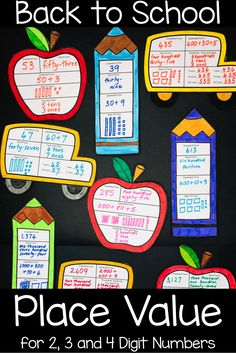 All Year Place Value Craft: Back to School, Summer, Spring Math Activities etc Place Value Activities, Place Value Worksheets, Math Activities, Math Games, Math Crafts, New Year's Crafts, Back To School Displays, Teaching Place Values, School Places