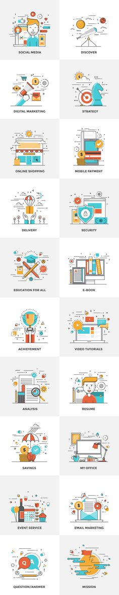 Set of Flat Color Line Design Concepts for creating amazing websites on various…