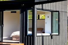 Architecture - Marlborough Sounds Bach, Eco-friendly bach design in the Sounds. Container House Design, Container Homes, Shed Homes, Cabin Homes, Mobile Home Exteriors, Marlborough Sounds, Kiwiana, Shipping Containers, Nooks