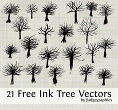 Set di silhouette di alberi vettoriali gratuito