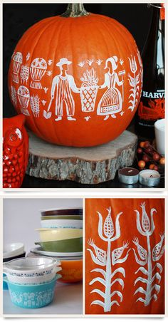 Halloween pumpkin painted with the Amish Butterprint Pyrex pattern! So adorable! I think if I did this, though, I would probably do it in turquoise Vintage Kitchenware, Vintage Glassware, Vintage Pyrex, Holiday Crafts, Holiday Decor, Fall Harvest, Autumn, Fall Pumpkins, Happy Fall