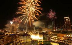 Fireworks Display at Burj Khalifa in Dubai