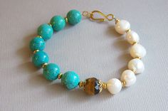 Pearls and Turquoise Bracelet with faceted by LakeTravisJewelry, $32.00