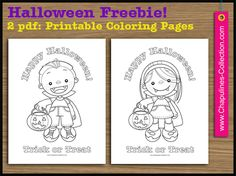 Chapulines Collection Halloween Freebie: Coloring pages, trick or treat boy and girl.