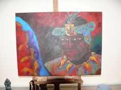 Mijn eigen werk: Krijger in feeststemming na een overwinning, Acryl 40 x 60 cm. Door Nicole Steenkist