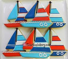 Flour Box Bakery has hand-iced decorated cookie gifts and favors, how-to cookie decorating video tutorials, and professional and affordable decorating supplies. Royal Icing Cookies, Sugar Cookies, Sailboat Cookies, Anchor Cookies, Cookie Decorating Icing, Pool Cake, Cookie Cake Pie, Dessert Recipes For Kids, Cookie Videos