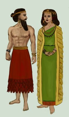 This picture of this man and woman fits this category of early Mesopotamia time because of the skirt the male is wearing and the wrapped dress the female is wearing