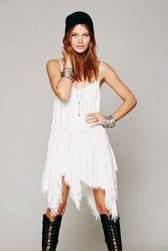 Free People Womens Tattered Up Shred Slip ~I just got dis~