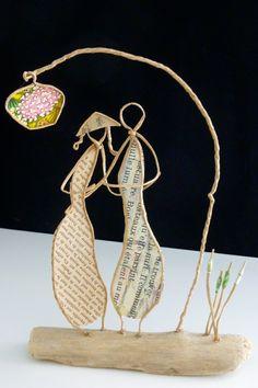 Les amoureux du Soleil levant - figurines en ficelle et papier : Accessoires de maison par ficelleetpapier