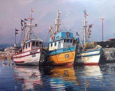 Art Watercolor, Watercolor Landscape, Landscape Paintings, Trawler Boats, Sailboat Art, Shrimp Boat, Boat Painting, Acrylic Painting Techniques, Anime Art Girl