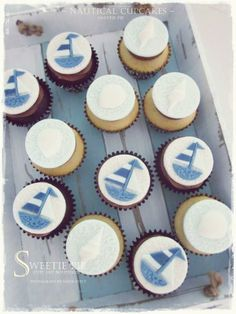 Nautical theme cupcakes