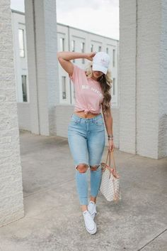 High-Rise Distressed Jeans // Be Nice Classic Tee // Platform Converse // Adidas Hat // Louis . Cap Outfits For Women, Outfits With Hats, Sporty Outfits, Cute Casual Outfits, Cute Summer Outfits, Simple Outfits, Chic Outfits, Spring Outfits, Winter Outfits